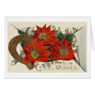Vintage Christmas Poinsettia and Horse Shoe Card