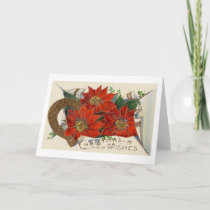 Vintage Christmas Poinsettia and Horse Shoe Holiday Card
