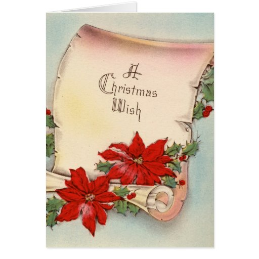 Vintage Christmas poinsettia and Note Cards