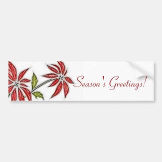 Vintage Christmas Poinsettia Bumper Sticker