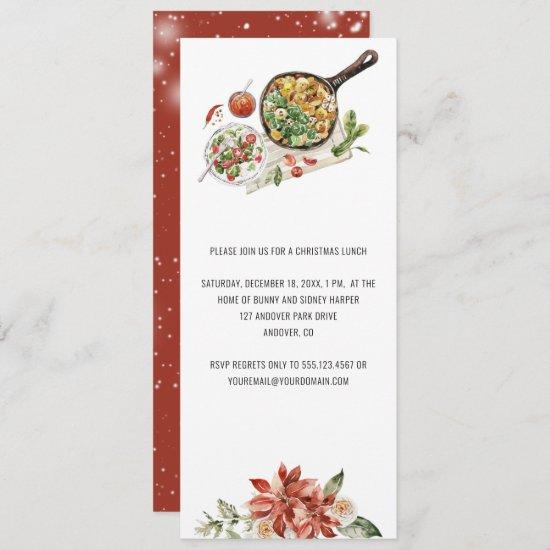 Vintage Christmas Poinsettia Evergreen Lunch  Invitation