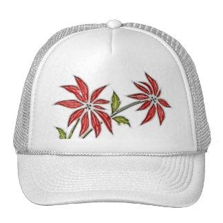Vintage Christmas Poinsettia Trucker Hat