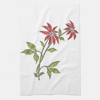 Vintage Christmas Poinsettia Kitchen Towels