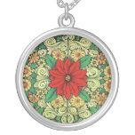 Vintage Christmas Poinsettia Round Pendant Necklace