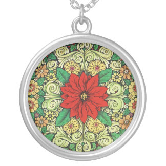 Vintage Christmas Poinsettia Round Pendant Necklace