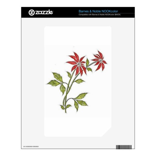 Vintage Christmas Poinsettia Skin For The NOOK Color