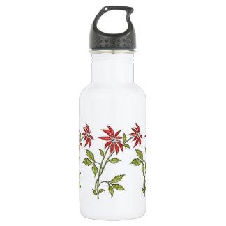 Vintage Christmas Poinsettia Stainless Steel Water Bottle