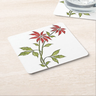 Vintage Christmas Poinsettia Square Paper Coaster