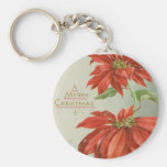 Vintage Christmas Poinsettias Basic Round Button Keychain