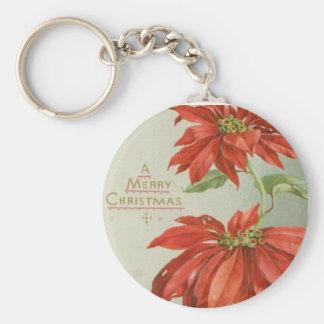 Vintage Christmas Poinsettias Basic Round Button Keychain