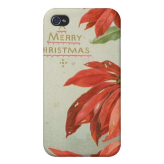 Vintage Christmas Poinsettias Cases For iPhone 4