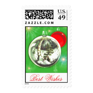 Vintage Christmas Postage Best Wishes