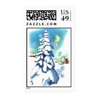 Vintage Christmas Postage Stamps Blue Snow