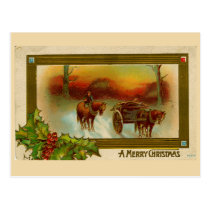 Vintage Christmas postcard Horse & Carriage
