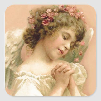 Vintage Christmas Praying Angel Square Sticker