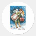 Vintage Christmas Presents Classic Round Sticker