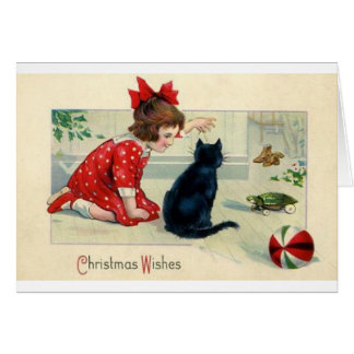 Vintage Christmas Print Girl and Cat Card