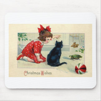 Vintage Christmas Print Girl and Cat Mouse Pad