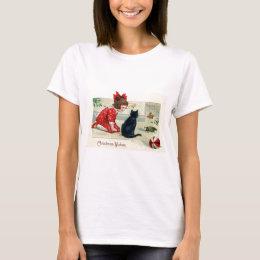 Vintage Christmas Print Girl and Cat T-Shirt