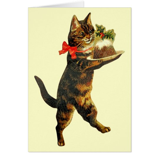 Vintage Christmas Pudding Cat Card
