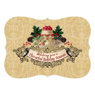 Vintage Christmas pudding cooking baking food gift Card