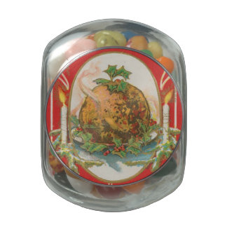 Vintage Christmas Pudding Jelly Belly Candy Jar