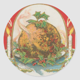 Vintage Christmas Pudding Classic Round Sticker