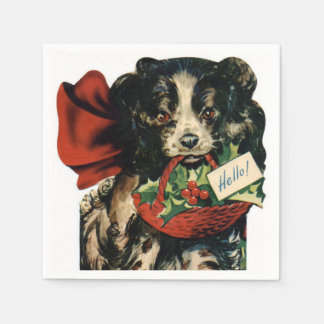 Vintage Christmas Puppy Holiday paper napkins