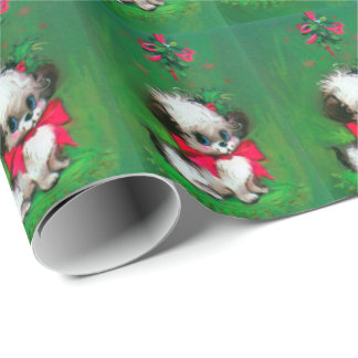 Vintage Christmas puppy Holiday wrap Wrapping Paper