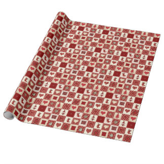Vintage Christmas Quilt Pattern Wrapping Paper