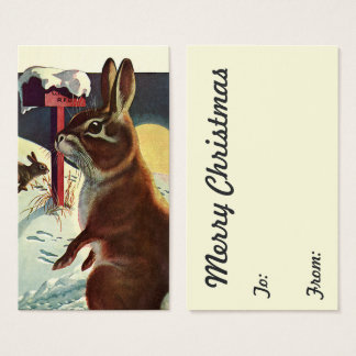 Vintage Christmas, Rabbits in a Winter Snow Meadow Business Card