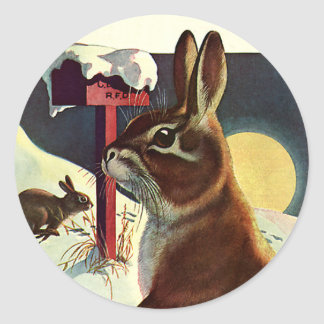 Vintage Christmas, Rabbits in a Winter Snow Meadow Classic Round Sticker