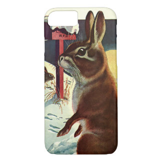 Vintage Christmas, Rabbits in a Winter Snow Meadow iPhone 7 Case