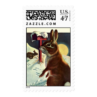 Vintage Christmas, Rabbits in a Winter Snow Meadow Postage Stamp