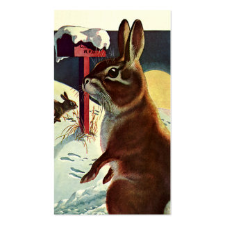 Vintage Christmas, Rabbits in Snow in Winter Double-Sided Standard Business Cards (Pack Of 100)