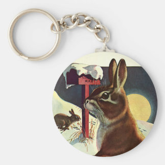 Vintage Christmas, Rabbits in Snow in Winter Basic Round Button Keychain