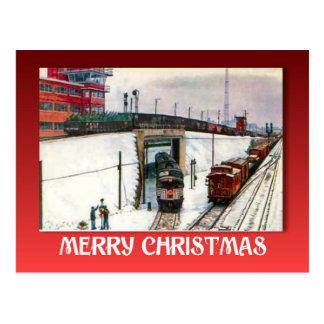 Vintage Christmas, Railway Junction in the snow Postcard