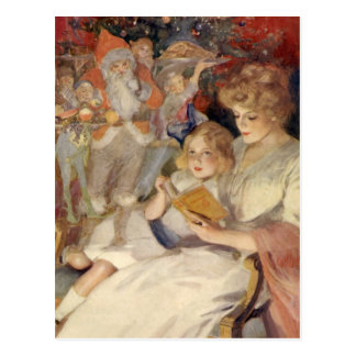Vintage Christmas, Reading Bedtime Stories Post Cards
