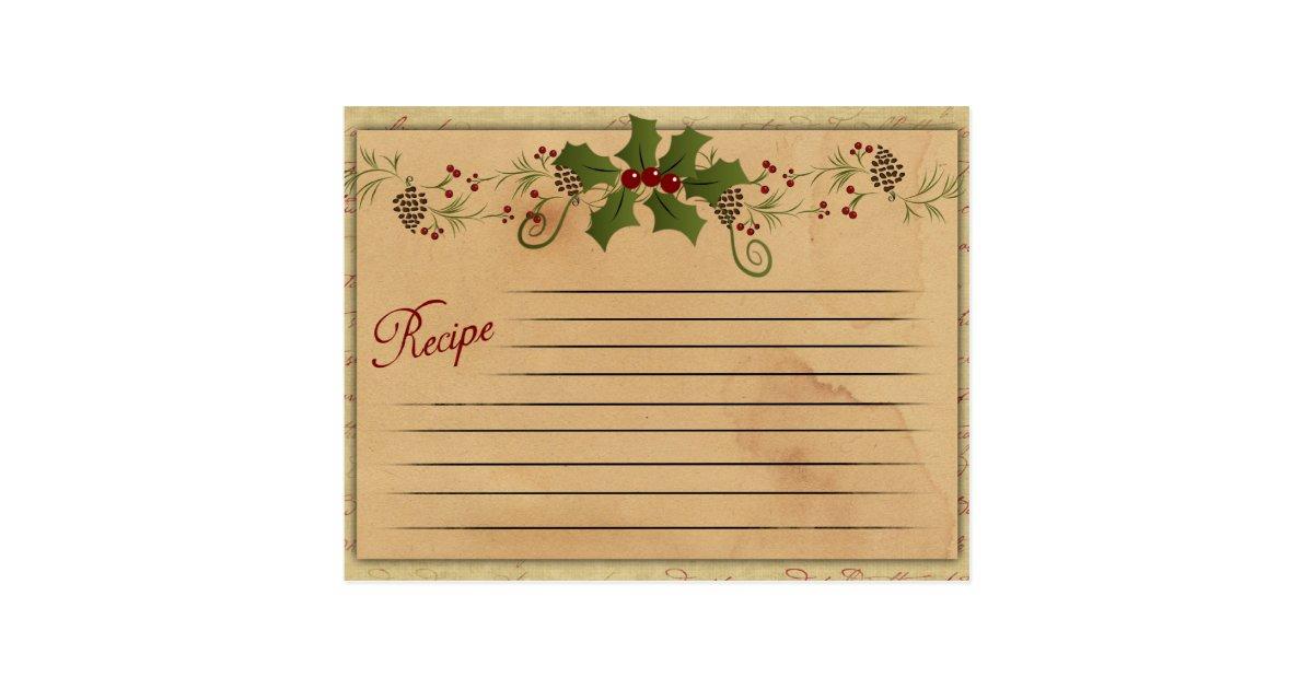 Vintage Christmas Recipe Card Zazzle Com