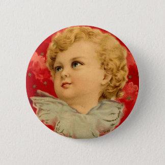 Vintage Christmas Red Angel Cherub Child Brundage Button
