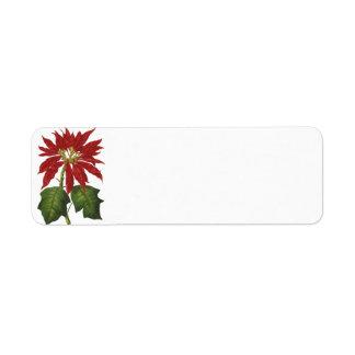 Vintage Christmas, Red Poinsettia Custom Return Address Labels
