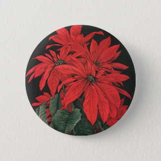 Vintage Christmas Red Poinsettia Plants Flowers Button