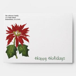 Vintage Christmas, Red Poinsettia Winter Plant Envelope