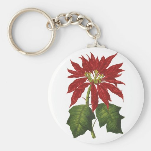 Vintage Christmas, Red Poinsettia Winter Plant Keychain
