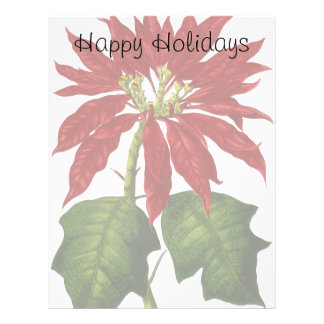 Vintage Christmas, Red Poinsettia Winter Plant Letterhead