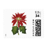 Vintage Christmas, Red Poinsettia Winter Plant Postage Stamps