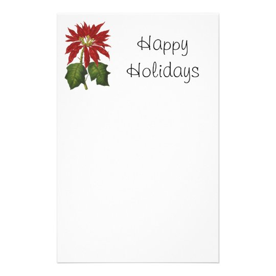 Vintage Christmas, Red Poinsettia Winter Plant Stationery