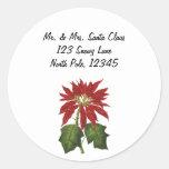 Vintage Christmas, Red Poinsettia Winter Plant Round Sticker