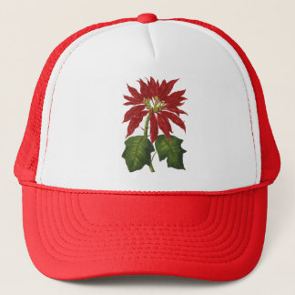Vintage Christmas, Red Poinsettia Winter Plant Trucker Hat