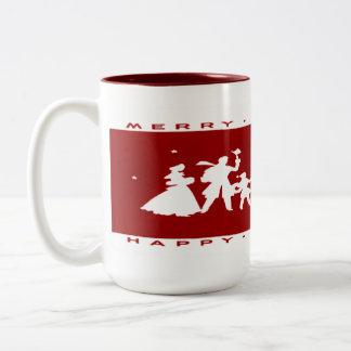 Vintage Christmas Red Silhouette Mug